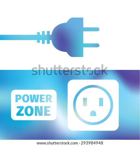 electrical connection - wire plug and socket - symbol electricity - power zone - stock vector