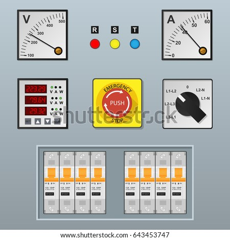Electrical Control Panel Equipment Stock-Vektorgrafik 643453747 ...
