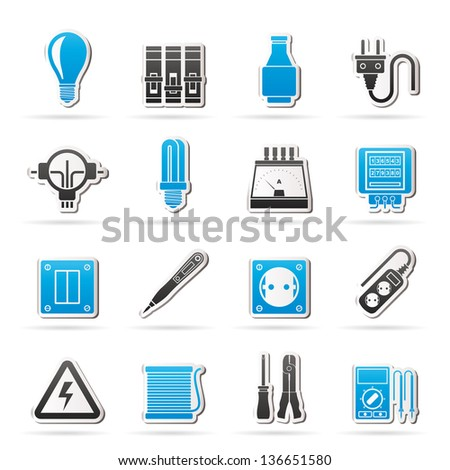 Black Electrical Devices Equipment Icons Vector Vector – Icons Fuse Box
