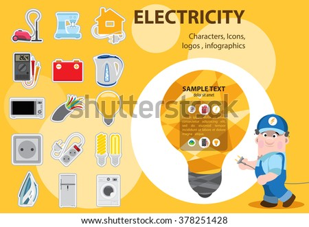 Electrical energy in our lives, icons and characters. Domestic electric appliances. - stock vector