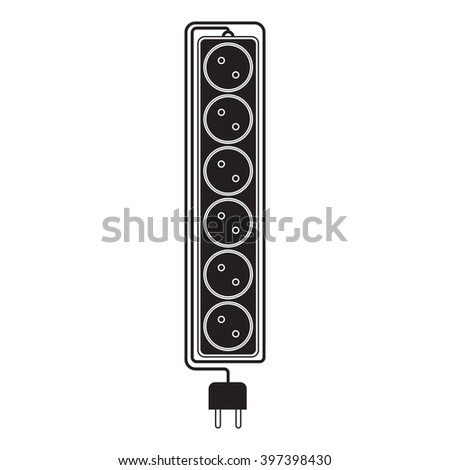 Electrical extension cord in a modern flat style. Electric surge protector icon, electric extension cable icon, electrical plug and electrical outlet. Six electrical outlets. Schematic image. Vector - stock vector