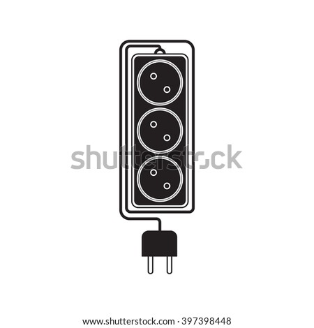 Electrical extension cord in a modern flat style. Electric surge protector icon, electric extension cable icon, electrical plug and electrical outlet. Three electrical sockets. Schematic image. Vector - stock vector