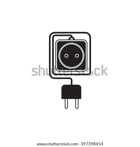 Electrical extension cord in a modern flat style. Electric surge protector icon, electric extension cable icon, electrical plug and electrical outlet. One electrical socket.  Schematic image. Vector - stock vector