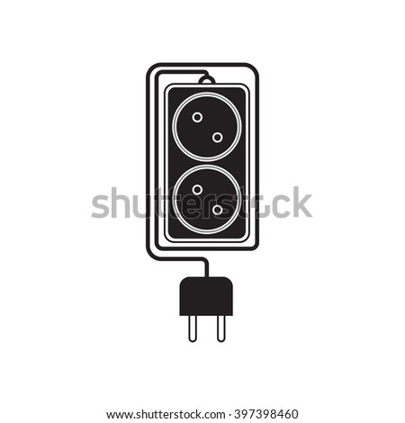 Electrical extension cord in a modern flat style. Electric surge protector icon, electric extension cable icon, electrical plug and electrical outlet. Two electrical outlet. Schematic image. Vector - stock vector