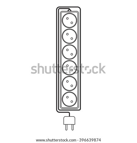 Electrical extension cord in a modern linear style. Electric surge protector icon, electric extension cable icon, electrical plug and electrical outlet. Six electrical outlets. Schematic image. Vector - stock vector
