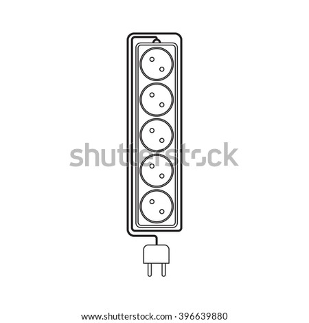 Electrical extension cord in a modern linear style. Electric surge protector icon, electric extension cable icon, electrical plug and electrical outlet. Five electrical outlets. Schematic image - stock vector