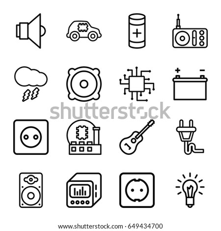 Electrical Icons Set Set 16 Electrical Stock Vector 649434700