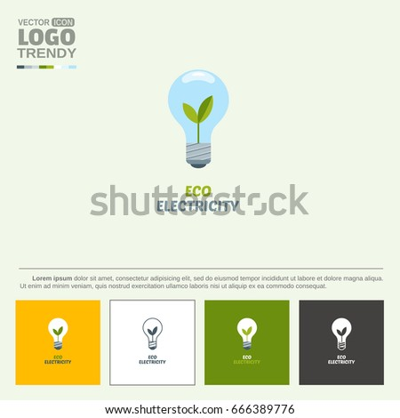Electrical Lamp Flower Symbol Nature Friendly Stock Vector 666389776