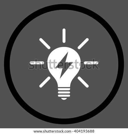 Electrical Light Bulb vector bicolor icon. Picture style is flat electric light bulb rounded icon drawn with black and white colors on a gray background. - stock vector