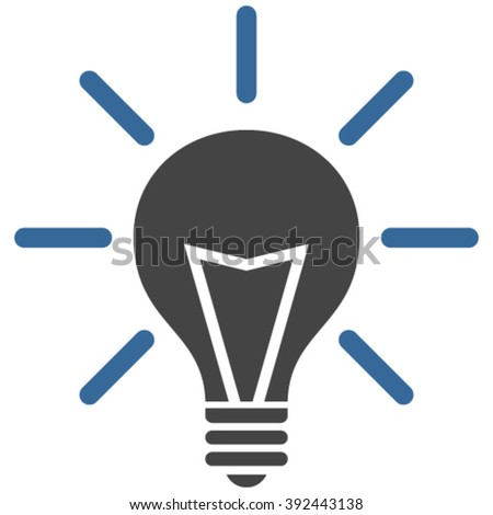 Electrical Light vector icon. Image style is bicolor flat electric light pictogram drawn with cobalt and gray colors on a white background.