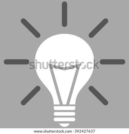 Electrical Light vector icon. Picture style is bicolor flat electric light icon drawn with dark gray and white colors on a silver background.