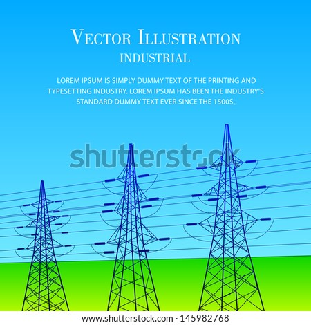 Electrical lines and pylons with blue sky. Vector illustration. - stock vector
