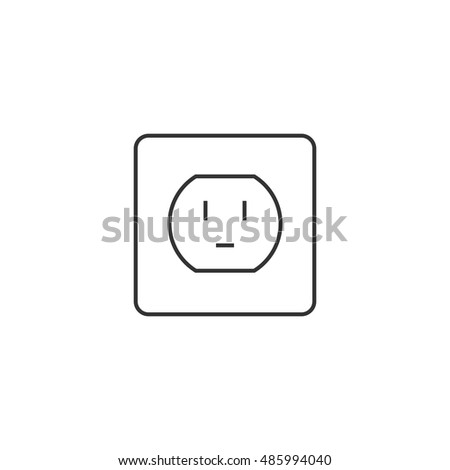 Electrical Outlet Icon Thin Outline Style Stock Vector 485994040 ...