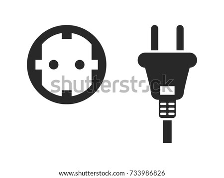 Electrical Outlet Icon Set Electric Plug And Power Socket Black Isolated On White Background