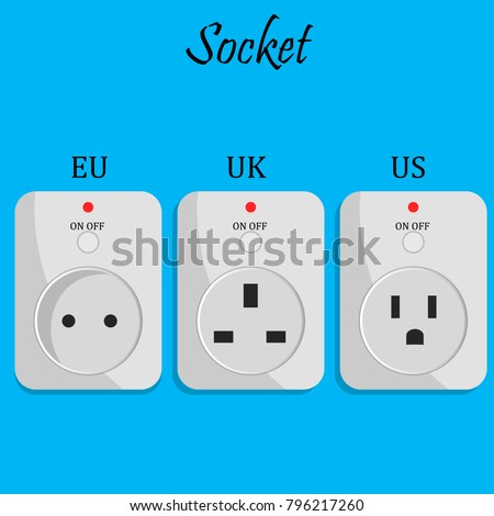 Electrical Outlet Europe UK US Power Stock Photo (Photo, Vector ...