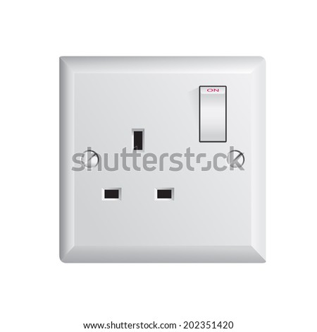 electrical outlet in the UK, power socket - stock vector