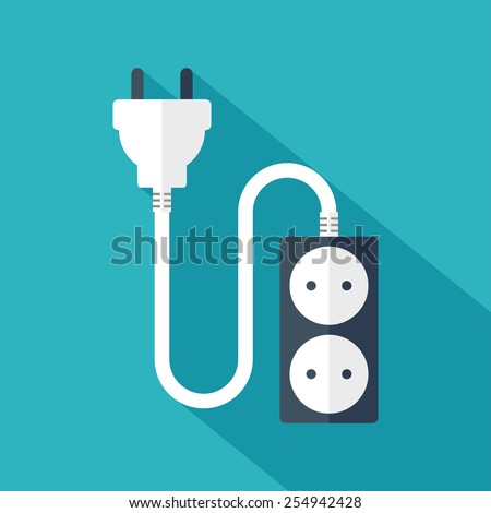 Electrical plug and socket. Flat design. Vector illustration - stock vector