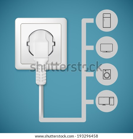 Electrical plug closeup. Flat icons with silhouettes of electric appliances. - stock vector