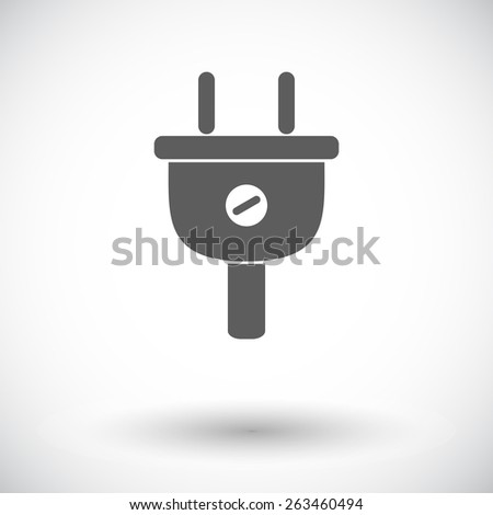 Electrical plug. Single flat icon on white background. Vector illustration. - stock vector