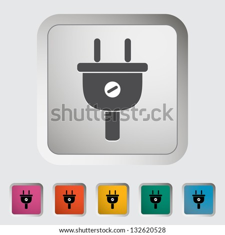 Electrical plug. Single icon. Vector illustration. - stock vector