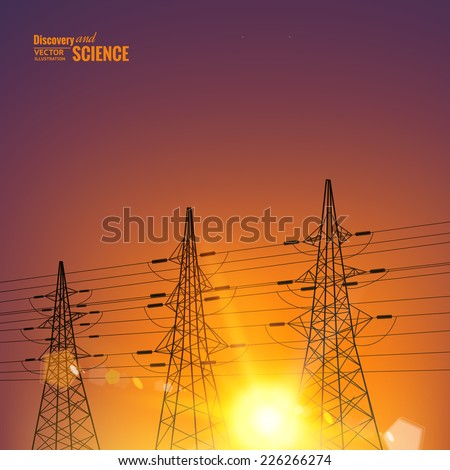 Electrical pylons over sunset background. Vector illustration. - stock vector