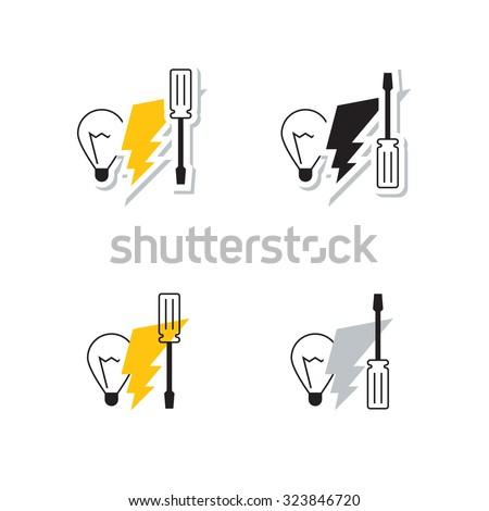 Electrical service logo set - stock vector