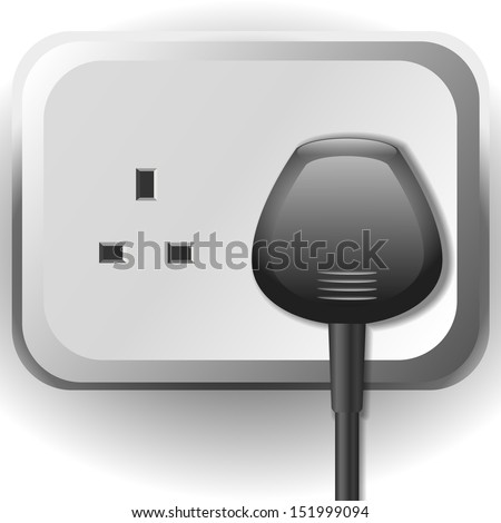 Electrical socket with cable - stock vector
