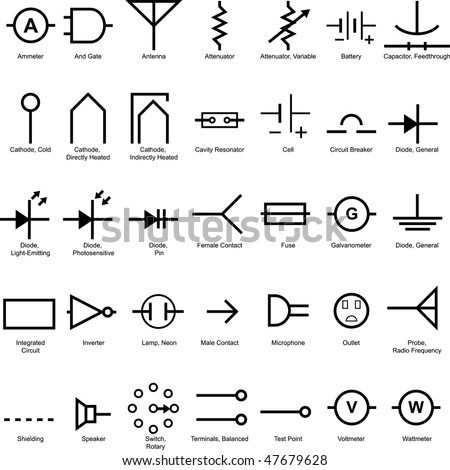 stock vector electrical symbol icon set isolated on a white background 47679628 electrical symbols stock images, royalty free images & vectors Breaker Box Symbol at couponss.co