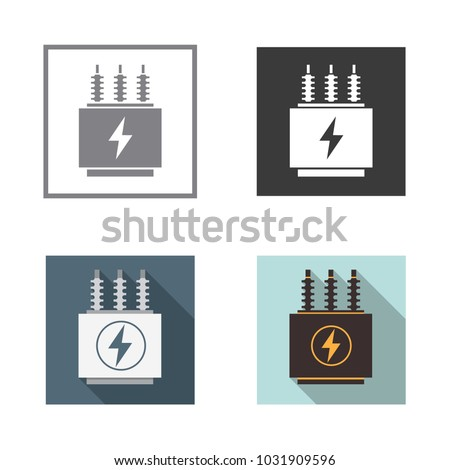 Electrical Transformer Icons Set Vector Illustration Stock ...