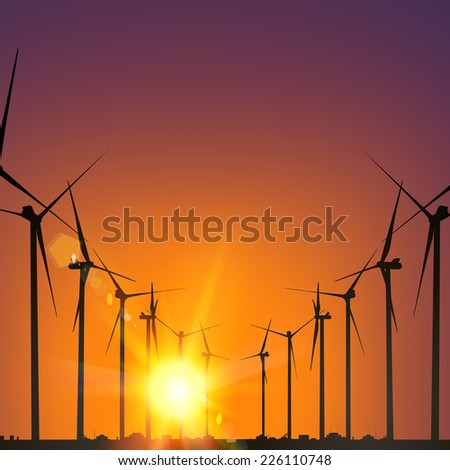 Electrical windmill generators over Sunset. Vector Illustration.
