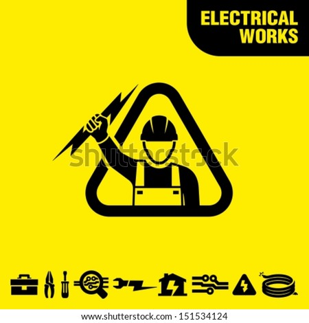 Electrical works - stock vector