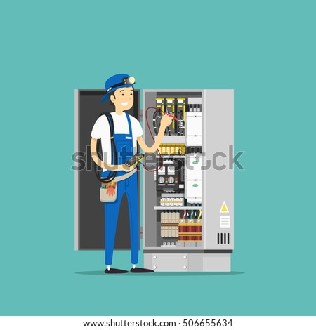 Electrician at work. Vector illustration.