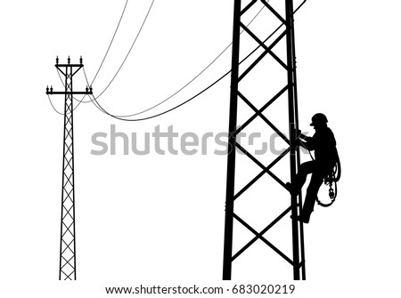Electrician Climbing The Tower Against Sunset Black And White Drawing Flat Style
