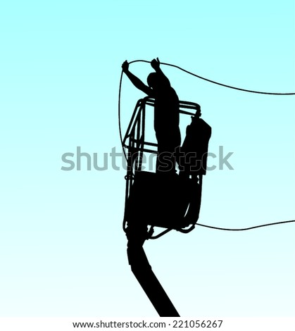 Electrician holding electric cables