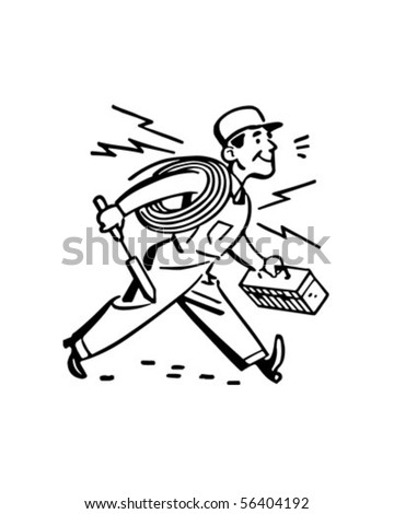 Electrician Hurrying To The Job - Retro Clip Art