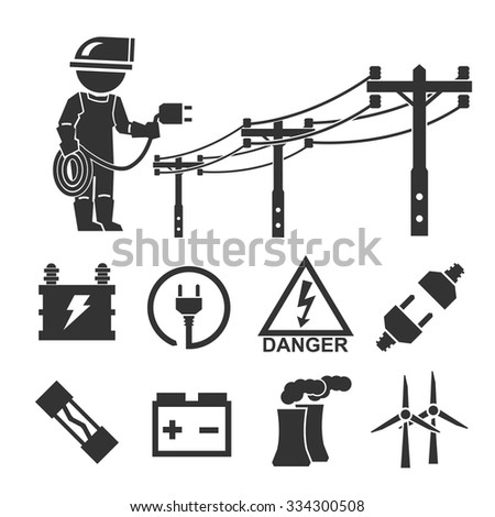 electrician icon set - stock vector