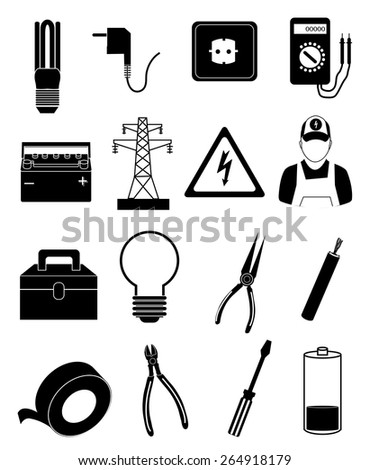 Electrician Icons Set Stock Vector 264918179