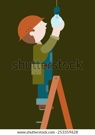 Electrician inserts the lamp from stapladder - stock vector