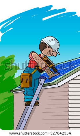 Electrician installs the Solar panel on a roof - stock vector