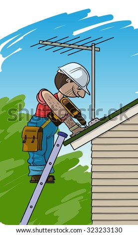 Electrician installs the TV antenna on a roof - stock vector