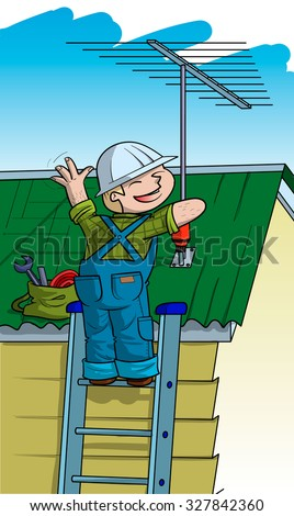 Electrician installs TV antenna on the roof - stock vector