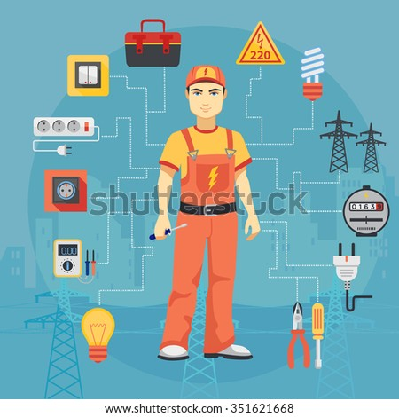 Electrician man concept with professional instruments tools. Electrician man concept, Electrician man image, Electrician man illustration, Electrician man icons, Electrician man with tools. - stock vector