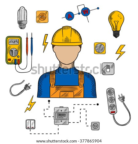 Electrician profession icons with electric man in yellow hard hat, electrical household supplies, electric tools and equipments symbols. For industrial design usage - stock vector