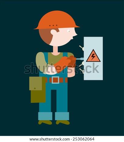 Electrician repairing an electrical panel - stock vector