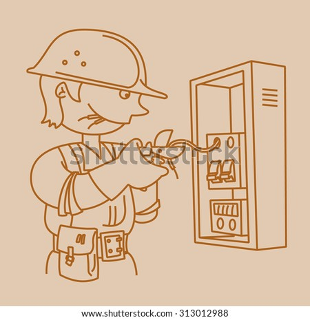 Electrician repairing an electrical panel with screwdriver in linear style - stock vector