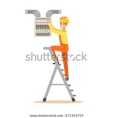 electrician standing on stepladder screwing equipment stock vector cartoon switch fuse box electrician standing on a stepladder and screwing equipment in fuse box, electric man performing electrical