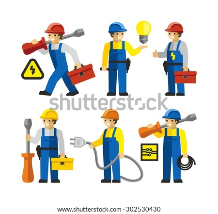 Electricians workers Figures With Tools   - stock vector
