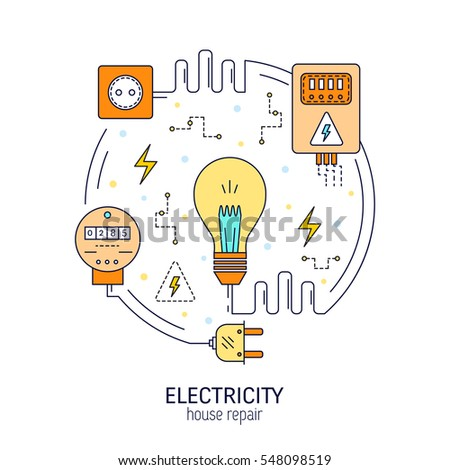 Electricity Energy Round Concept Made Modern Stock Vector HD ...