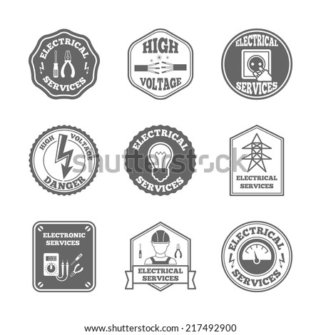 Electricity black label set electrical services high voltage isolated vector illustration - stock vector