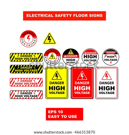 Electricity Emergency Warning Signs Design Illustration Stock Vector